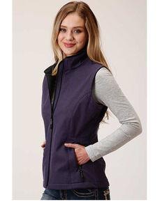 Roper Women's Purple Softshell Bonded Fleece Lined Vest, Purple, hi-res