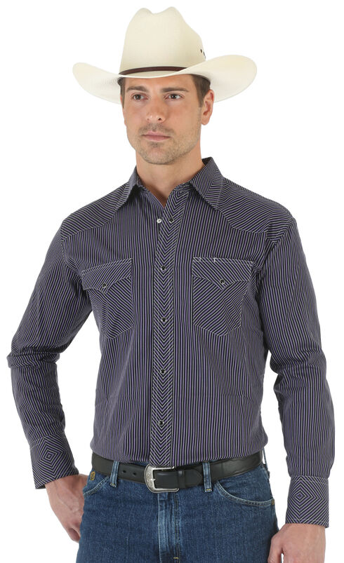 Wrangler Silver Edition Black Dobby Shirt, Black, hi-res