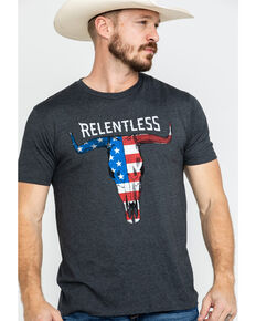 92c481644f Ariat Mens Relentless American Flag Skull Graphic T-Shirt , Charcoal, hi-res