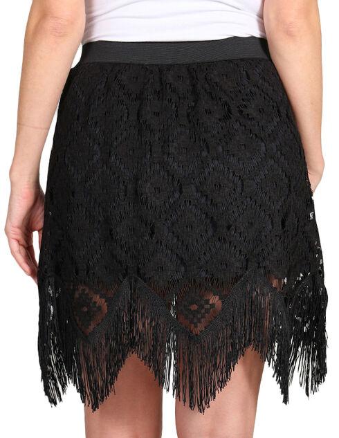 Wrangler Women's Black Lace Fringe Skirt, Assorted, hi-res