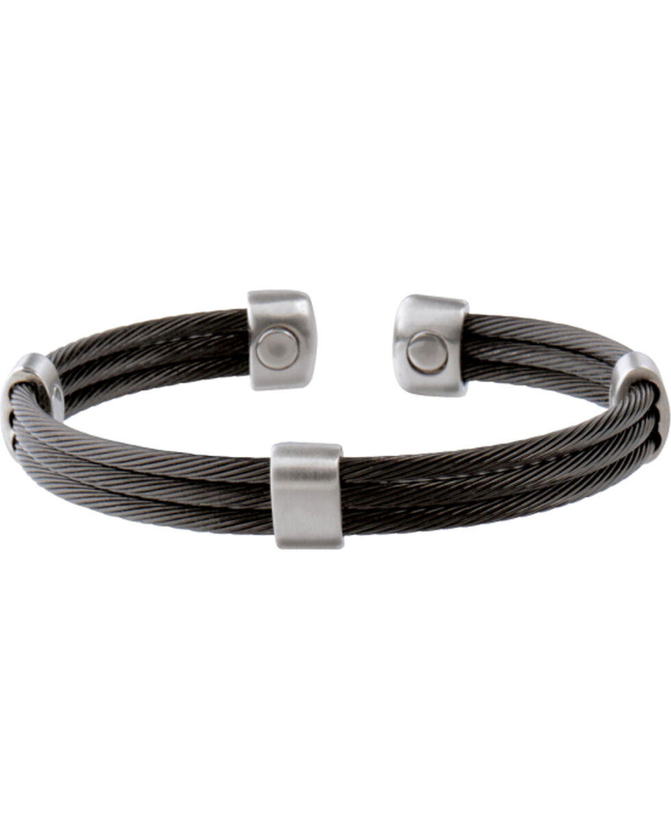 Sabona Trio Cable Black & Satin Stainless Magnetic Wristband, Two Tone, hi-res