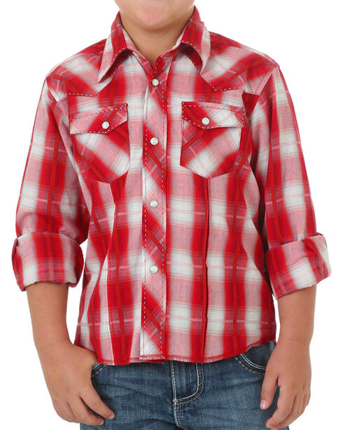 Wrangler Boys Assorted Plaid Long Sleeve Shirt , Multi, hi-res