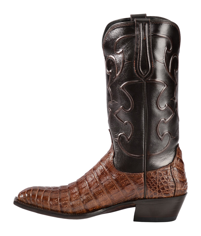 Lucchese Handmade 1883 Men's Charles Crocodile Belly Cowboy Boots - Round Toe, Sienna, hi-res