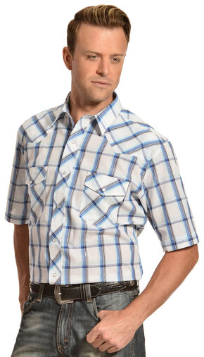 Gibson Trading Co. Blue & White Plaid Lurex Shirt, Blue, hi-res