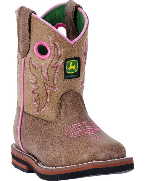 John Deere Toddler Girls' Tan and Pink Pull-On Boots - Round Toe , Tan, hi-res