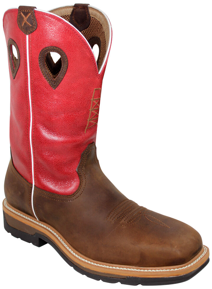 Twisted X Red Waterproof Lite Cowboy Work Boots - Composite Toe , Distressed, hi-res