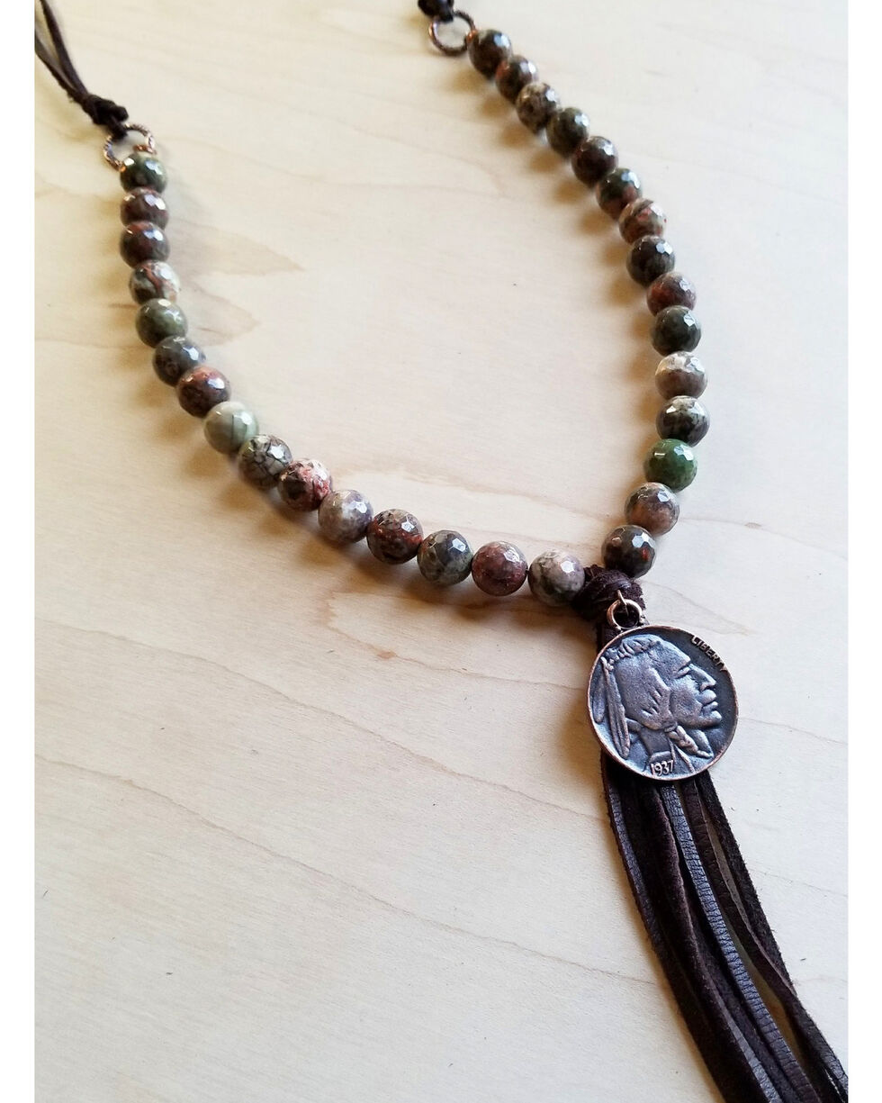 Jewelry Junkie Women's Brown Ocean Agate Indian Head Necklace, Brown, hi-res