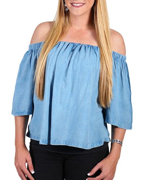 Tramp Women's Cold Shoulder Top, Light Blue, hi-res