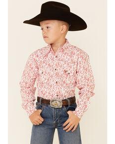 Cowboy Hardware Boys' Orange Paisley Print Long Sleeve Snap Western Shirt , Orange, hi-res