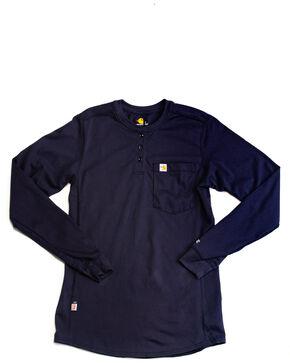 Carhartt Women's Force Henley Long Sleeve Shirt, Navy, hi-res