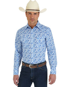 Wrangler George Strait Collection Blue Paisley Western Shirt, White, hi-res