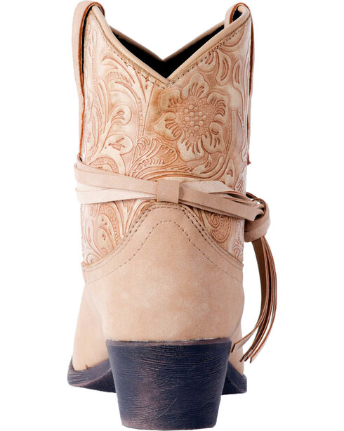 Dingo Women's Floral Tooled Knotted Strap Ankle Boots - Round Toe, Tan, hi-res
