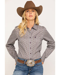 Cinch Women's Grey Geo Print Long Sleeve Western Shirt , Grey, hi-res