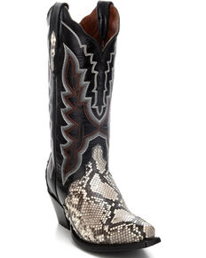 Dan Post Women's Natural Python Triad Cowgirl Boots - Snip Toe, Natural, hi-res