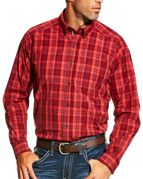 Ariat Men's Pro Series Anderson Performance Long Sleeve Button Down Shirt, Wine, hi-res