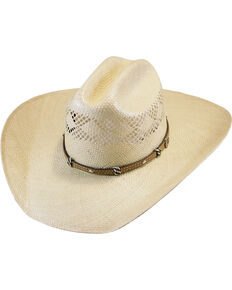 Justin Natural 20X Crest Straw Cowboy Hat , Natural, hi-res