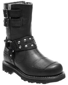 Harley Davidson Women's Marmora Moto Boots - Round Toe, Black, hi-res