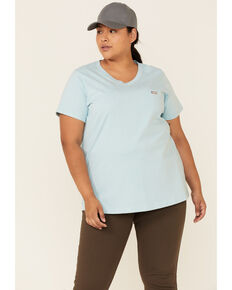 Ariat Women's Rebar Light Blue Cotton Strong Retro Flag Back Logo Short Sleeve Work T-Shirt - Plus, Light Blue, hi-res