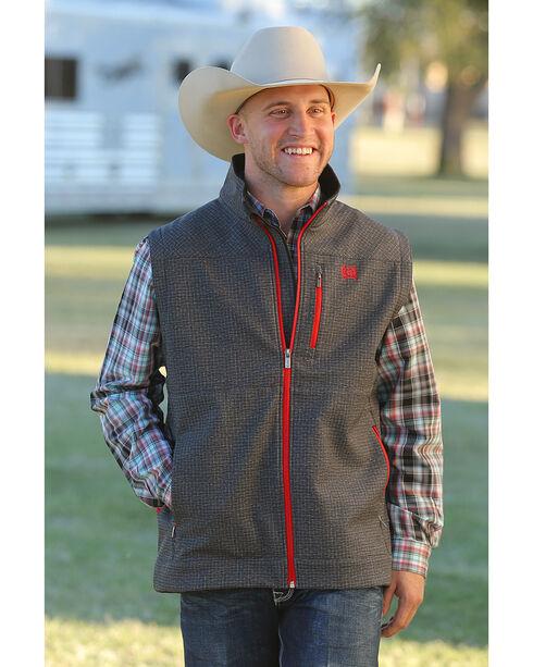 Cinch Men's Grey Printed Bonded Vest , Grey, hi-res