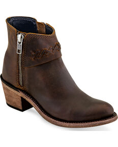Old West Girls' Brown Braided Stitch Booties - Round Toe , Brown, hi-res