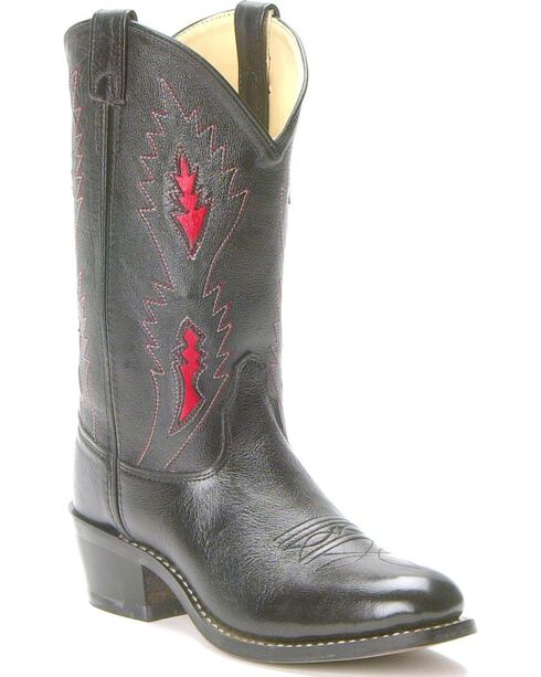Old West Children's Underlay Cowboy Boots - Round Toe , Black, hi-res