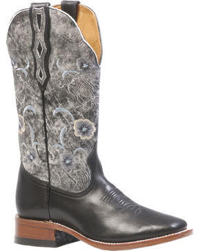 Boulet Women's Torino Black Thunder Blanco Cowgirl Boots - Square Toe, Black, hi-res