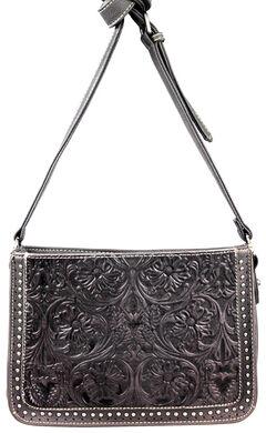 Montana West Trinity Ranch Tooled Design Collection Messenger Bag, Black, hi-res