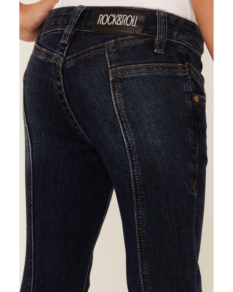 Rock & Roll Denim Girls' Dark Front Seamed Twill Trousers , Blue, hi-res