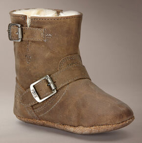 Frye Infant Girls' Crazy Horse Engineer Shearling Bootie , Tan, hi-res
