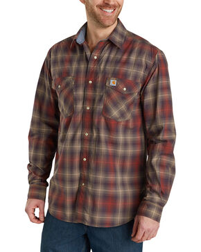 Carhartt Men's Rugged Flex Bozeman Long Sleeve Shirt - Big & Tall , Dark Brown, hi-res