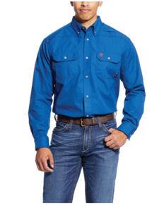 Ariat Men's FR Featherlight Long Sleeve Button-Down Work Shirt - Big, Royal Blue, hi-res