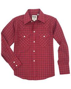 Ely Cattleman Boys' Burgundy Check Plaid Long Sleeve Western Shirt , Burgundy, hi-res