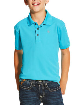 Ariat Boys' Turquoise Tek Polo, Turquoise, hi-res