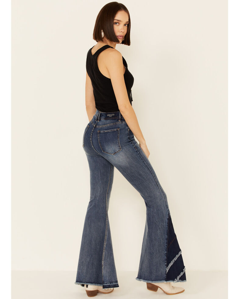 Grace in LA Women's 3-Layer Insert Flare Leg Jeans, Blue, hi-res