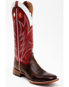 Cody James Men's Buckaroo Western Boots - Wide Square Toe, Red, hi-res