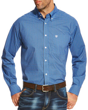 Ariat Men's Blue Oldham Print Long Sleeve Shirt , Blue, hi-res