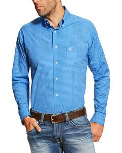 Ariat Men's Blue Andy Performance Long Sleeve Shirt - Tall , Blue, hi-res