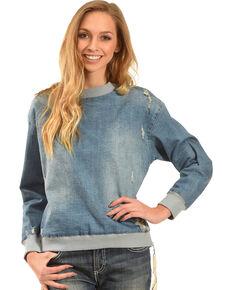 MI. OH. MI. Women's Destruction Denim Sweatshirt, Indigo, hi-res