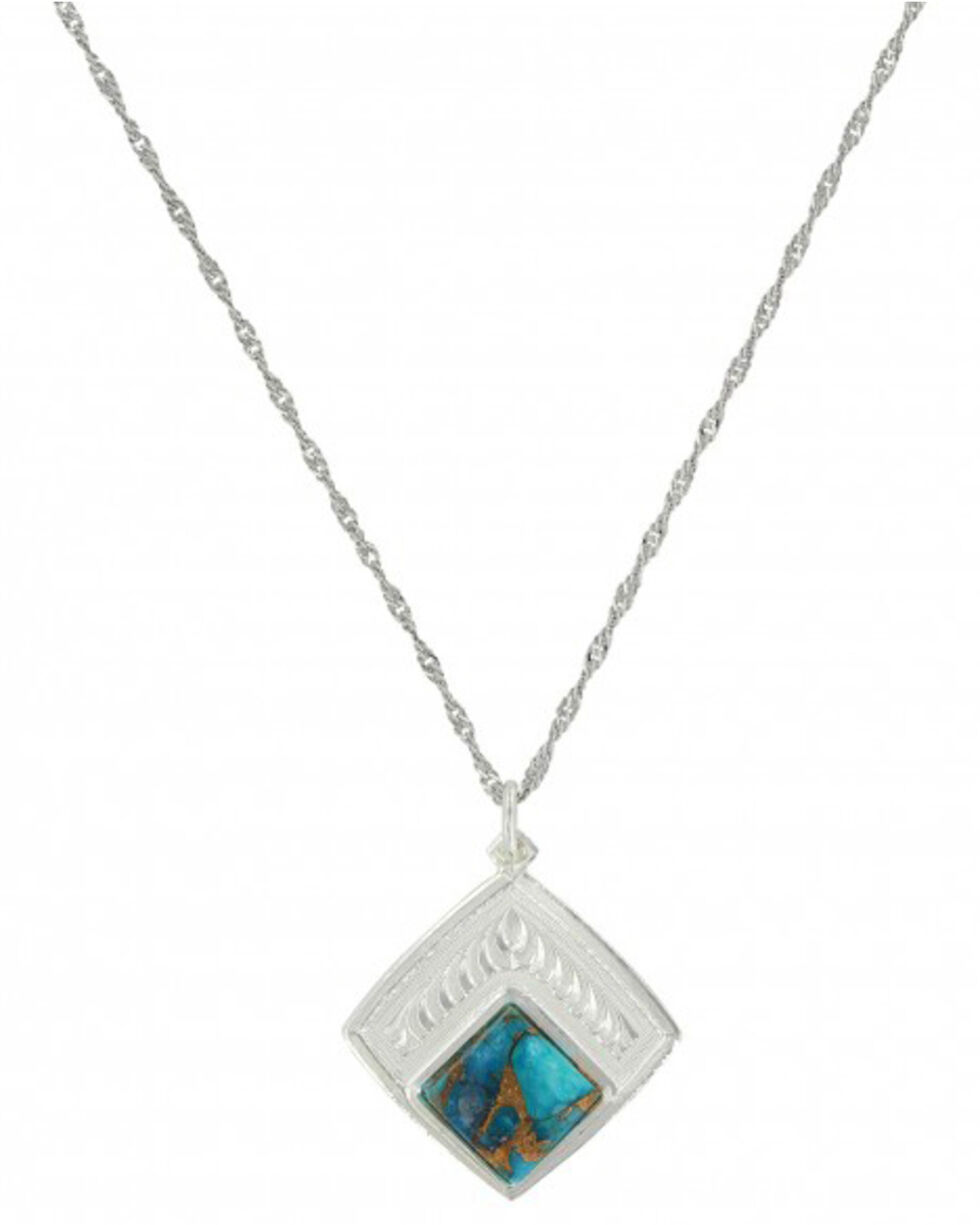 Montana Silversmiths Women's Doubled Down Diamond Turquoise Necklace , Silver, hi-res