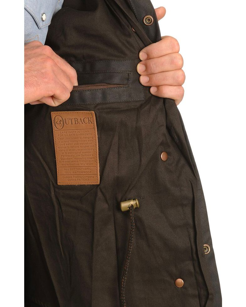 Outback Trading Co. Short Oilskin Duster, Brown, hi-res