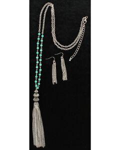 Blazin Roxx Turquoise & Tassel Necklace & Earrings Set, Silver, hi-res