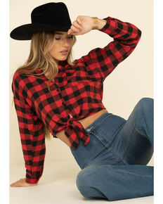 HYFVE Women's Buffalo Plaid Tie Front Cropped Western Flannel Shirt , Red, hi-res