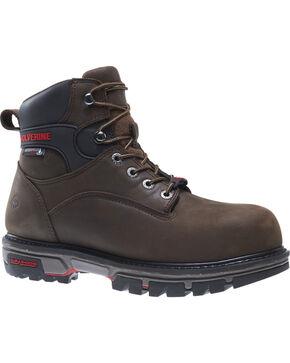 "Wolverine Men's Nation DuraShocks 6"" Work Boots - Composite Toe, Brown, hi-res"
