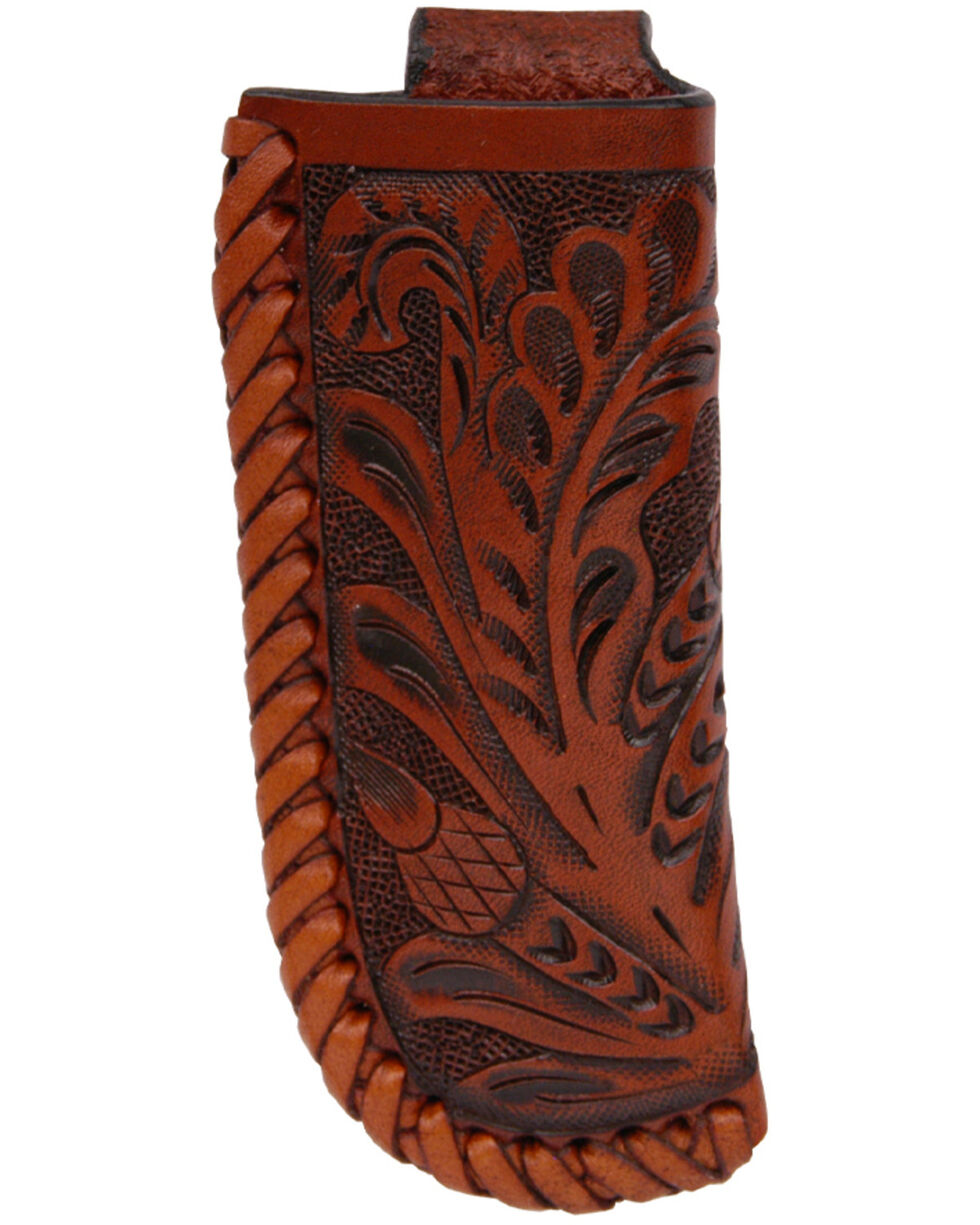 3D Men's Floral Tooled Medium Knife Holder, Tan, hi-res