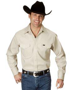 Wrangler Men's Solid Cowboy Cut Firm Finish Long Sleeve Work Shirt, Stone, hi-res