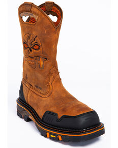 Cody James Men's Decimator Skull Western Work Boots - Composite Toe, Brown, hi-res