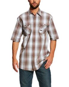 Ariat Men's Rebar Made Tough Plaid Short Sleeve Work Shirt - Tall , Grey, hi-res