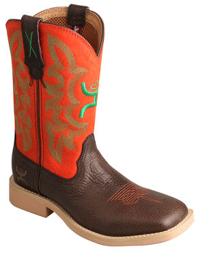 Twisted X Kid's Red and Green Hooey Cowboy Boots - Square Toe, Chocolate, hi-res