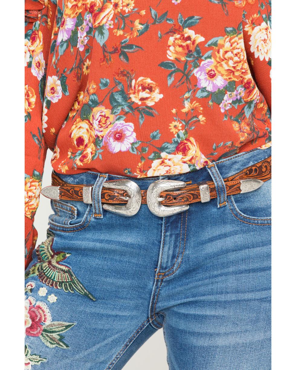Tony Lama Women's Tan Double Buckle Houston Honey Belt , Tan, hi-res