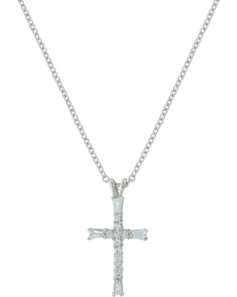 Montana Silversmiths Radiant Faith Cross Necklace, Silver, hi-res